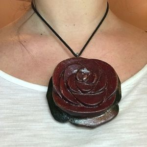 Jewelry - Hand carved In Jamaica wooden rose pendant